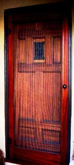 Stained African Mohogany Screen Door With Hardware Cloth