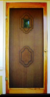 Genial Stained African Mohogany Screen Door With Hardware Cloth